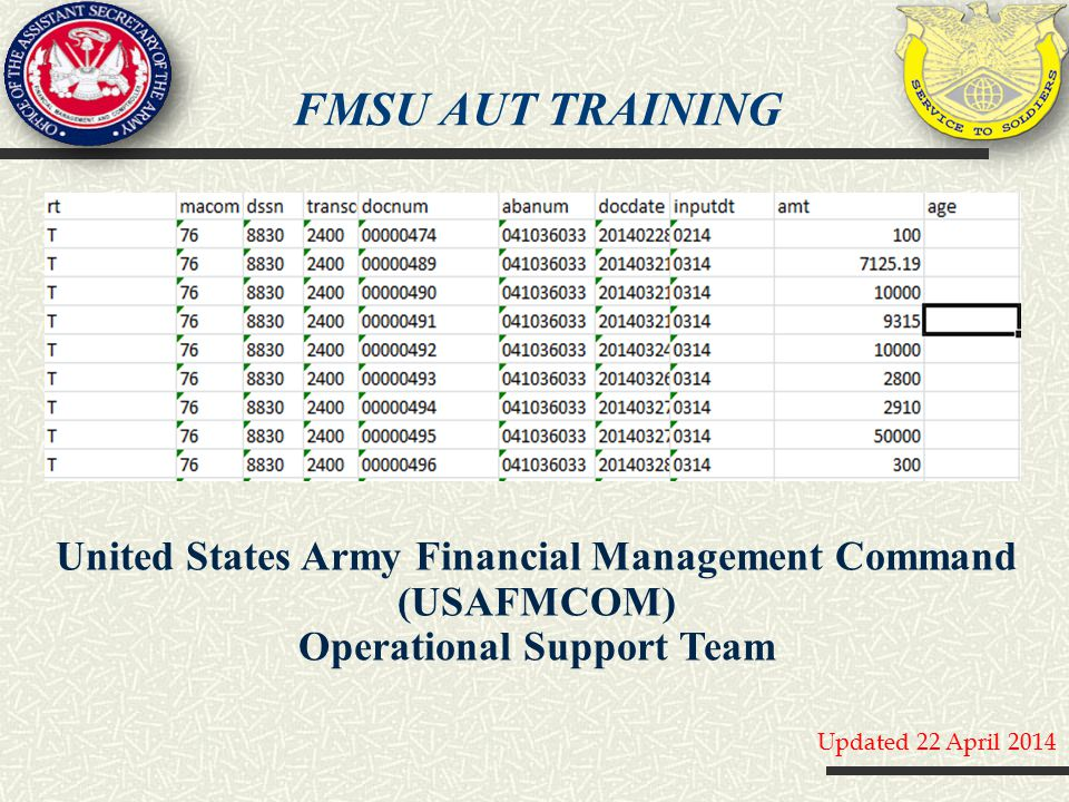 FMSU AUT training United States Army Financial Management Command