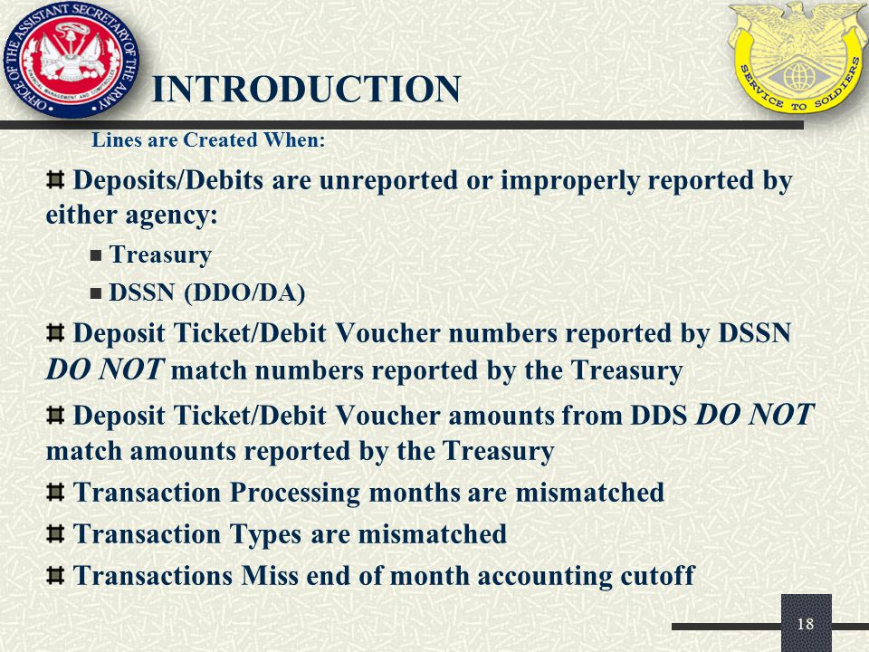 introduction Lines are Created When: Deposits/Debits are unreported or improperly reported by either agency:
