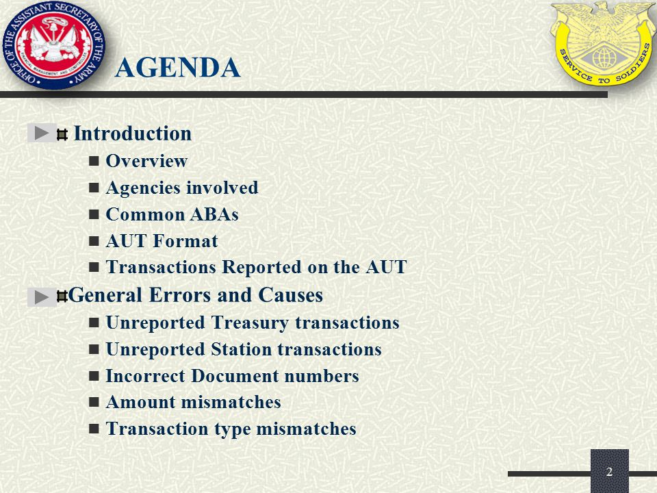 Agenda Introduction General Errors and Causes Overview
