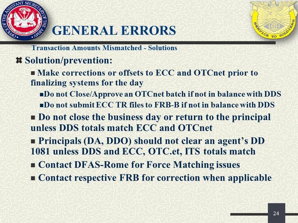 General Errors Solution/prevention: