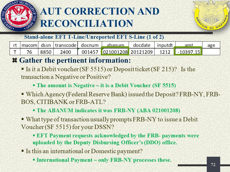 AUT CORRECTION AND RECONCILIATION