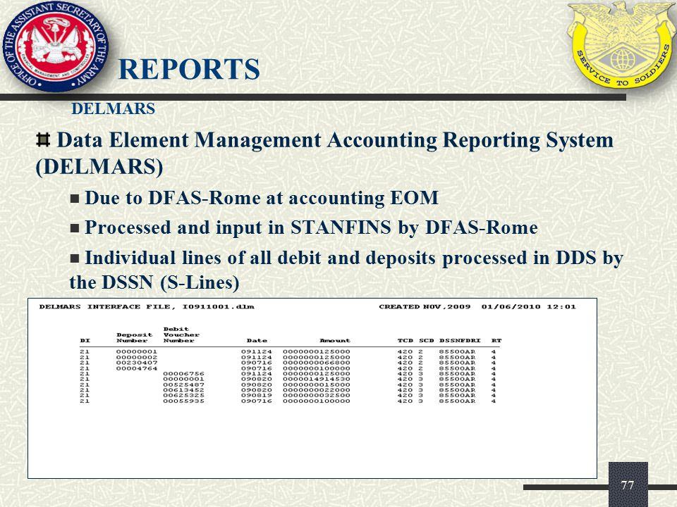 Reports Data Element Management Accounting Reporting System (DELMARS)