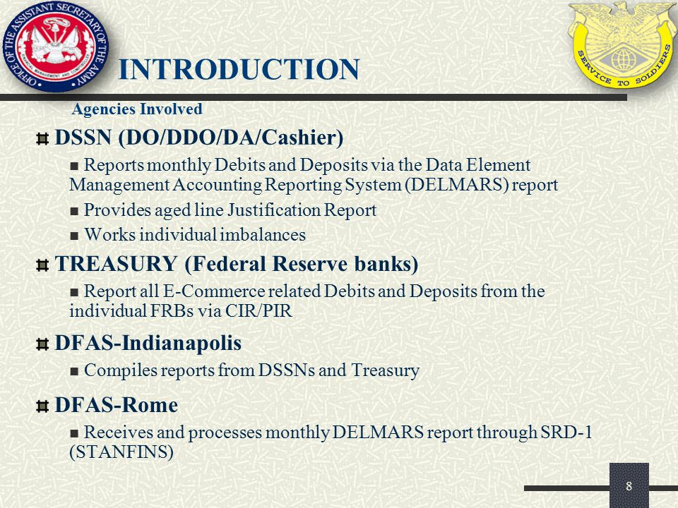 introduction DSSN (DO/DDO/DA/Cashier) TREASURY (Federal Reserve banks)
