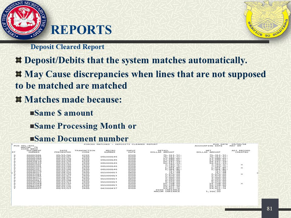 Reports Deposit/Debits that the system matches automatically.