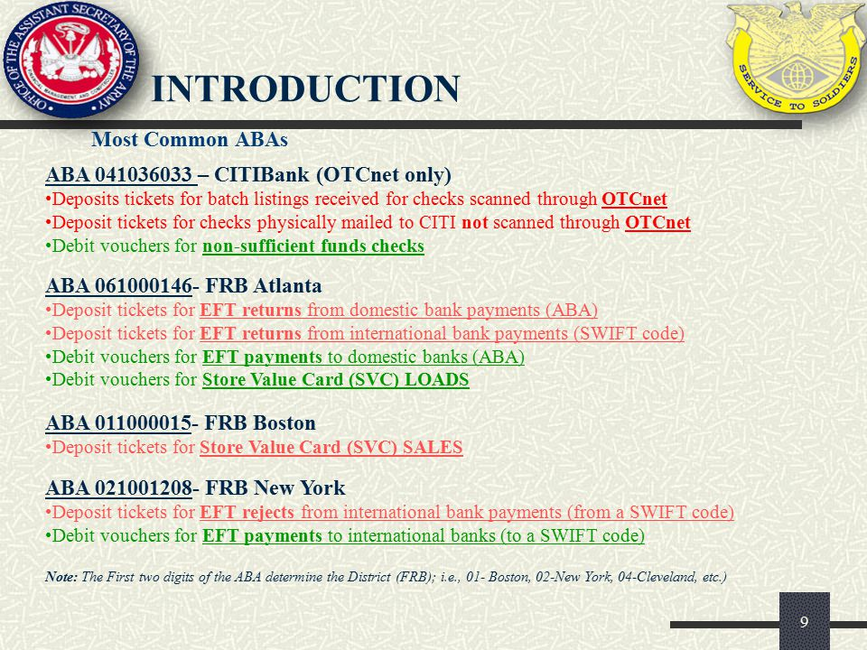 introduction Most Common ABAs ABA 041036033 – CITIBank (OTCnet only)