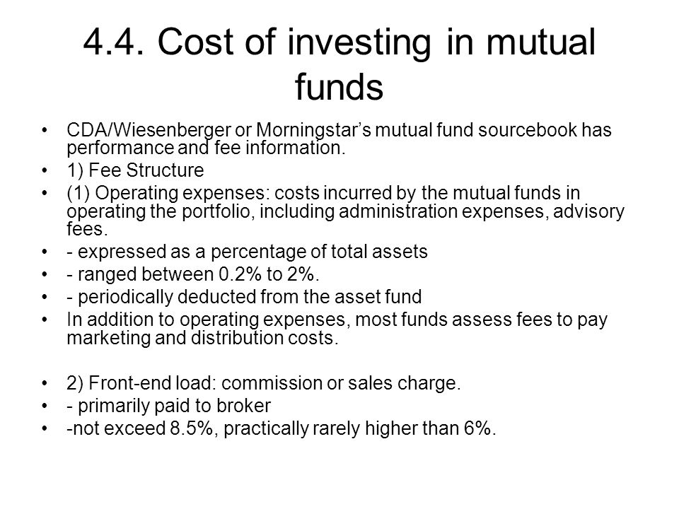 4.4. Cost of investing in mutual funds