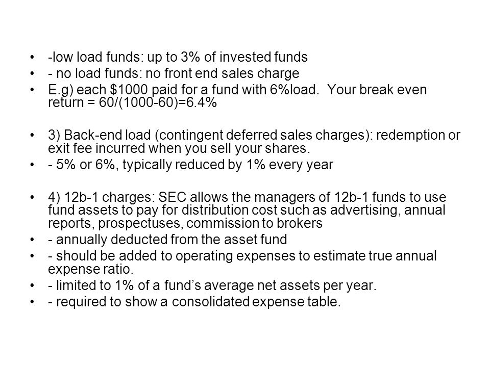 -low load funds: up to 3% of invested funds