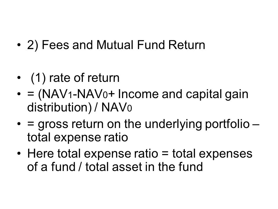 2) Fees and Mutual Fund Return
