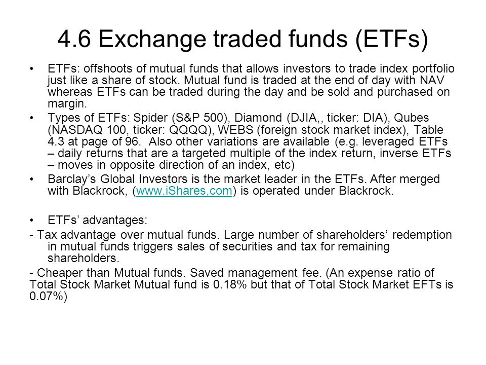 4.6 Exchange traded funds (ETFs)