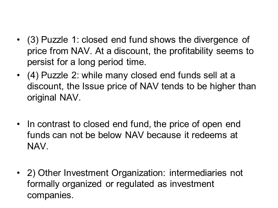 (3) Puzzle 1: closed end fund shows the divergence of price from NAV