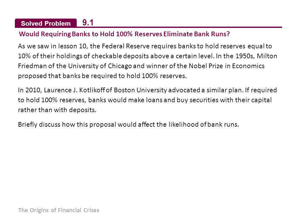 9.1 Would Requiring Banks to Hold 100% Reserves Eliminate Bank Runs