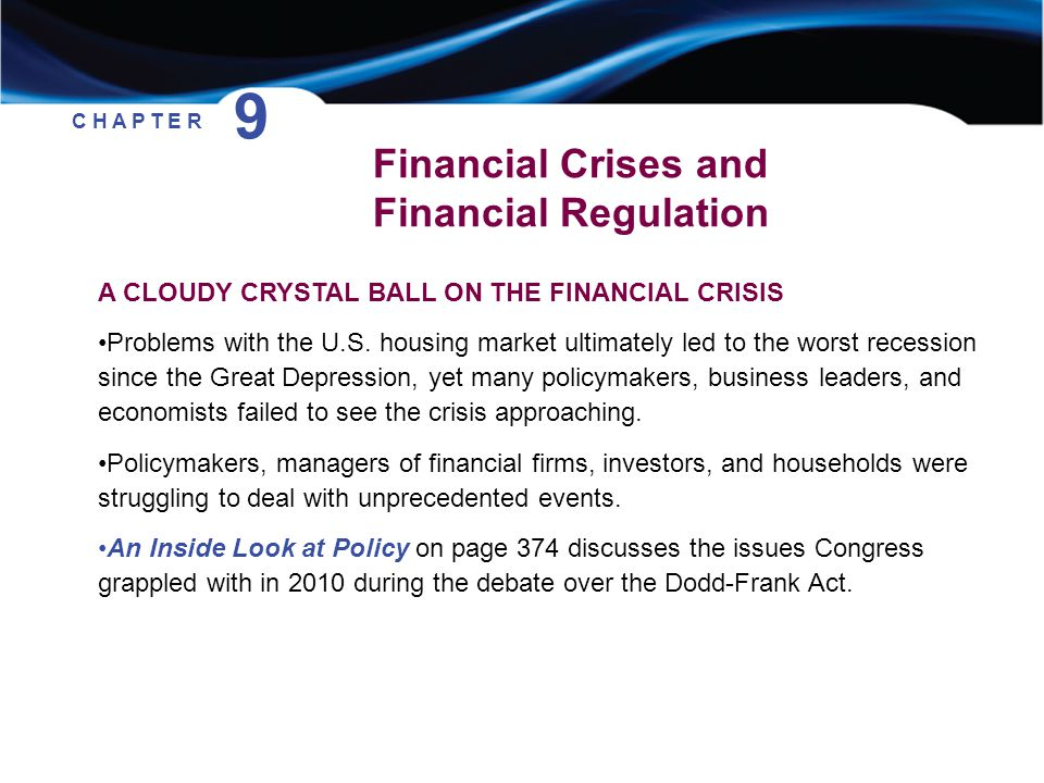 9 Financial Crises and Financial Regulation