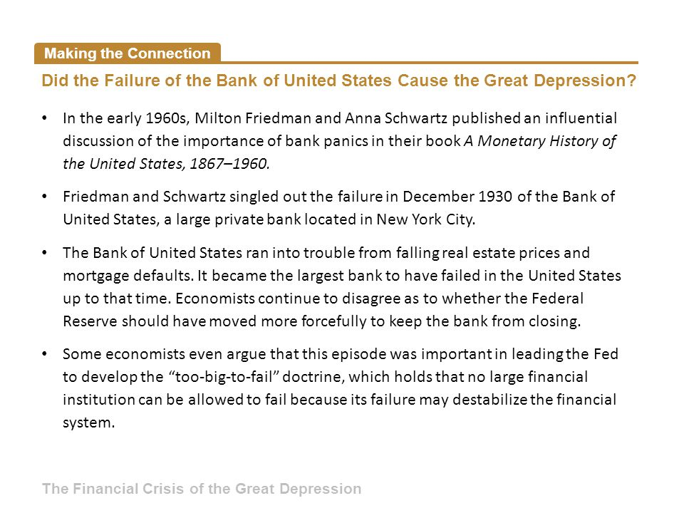 Making the Connection Did the Failure of the Bank of United States Cause the Great Depression