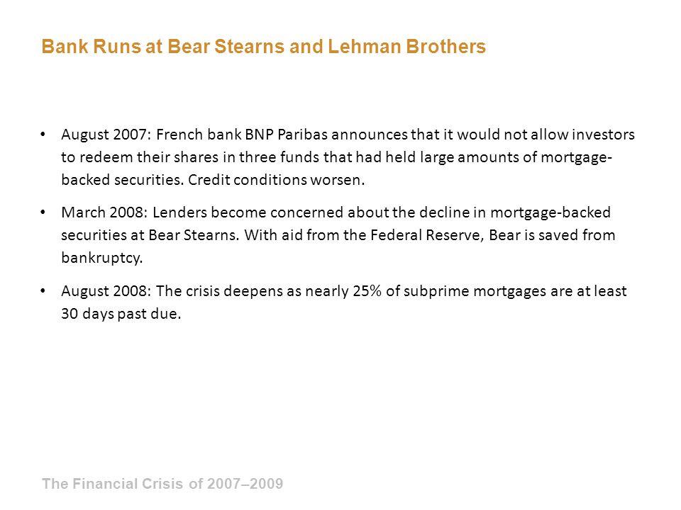 Bank Runs at Bear Stearns and Lehman Brothers