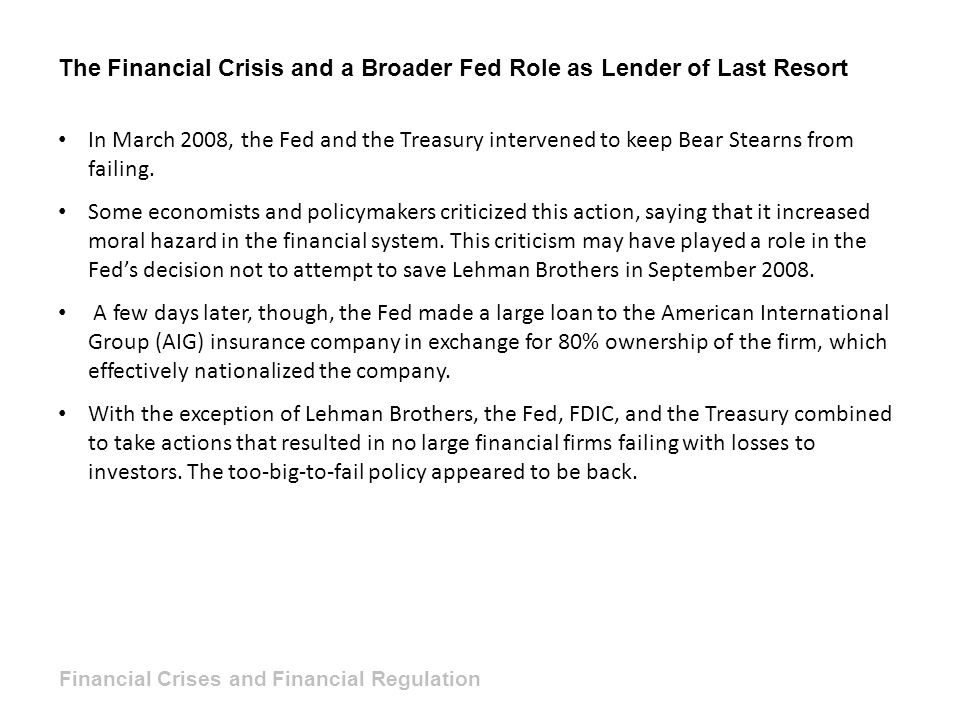The Financial Crisis and a Broader Fed Role as Lender of Last Resort