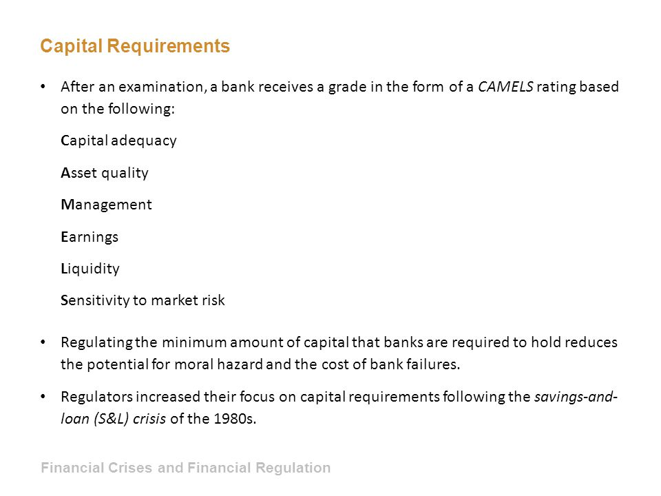 Capital Requirements After an examination, a bank receives a grade in the form of a CAMELS rating based on the following: