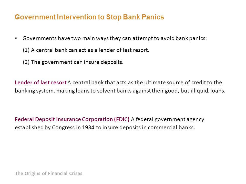 Government Intervention to Stop Bank Panics