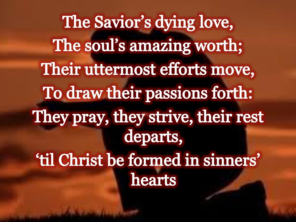 The Savior's dying love, The soul's amazing worth; Their uttermost efforts move, To draw their passions forth: They pray, they strive, their rest departs, 'til Christ be formed in sinners' hearts