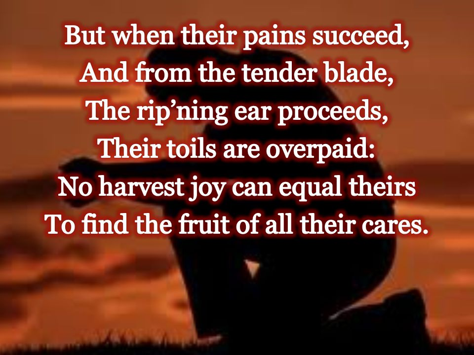 But when their pains succeed, And from the tender blade, The rip'ning ear proceeds, Their toils are overpaid: No harvest joy can equal theirs To find the fruit of all their cares.