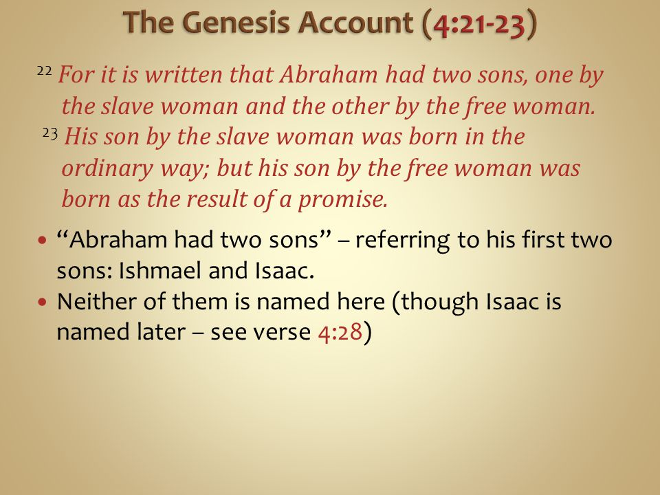 The Genesis Account (4:21-23)