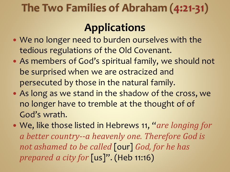 The Two Families of Abraham (4:21-31)