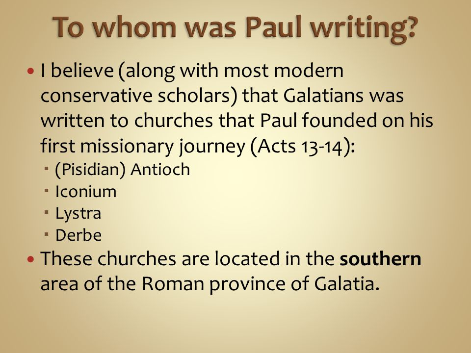 To whom was Paul writing