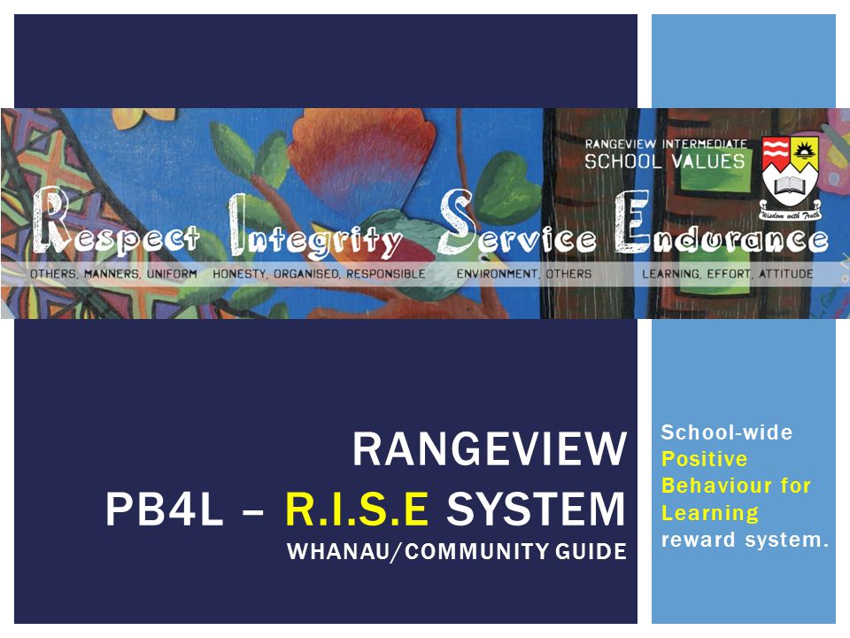 RANGEVIEW PB4L – R.I.S.E System whanau/community guide