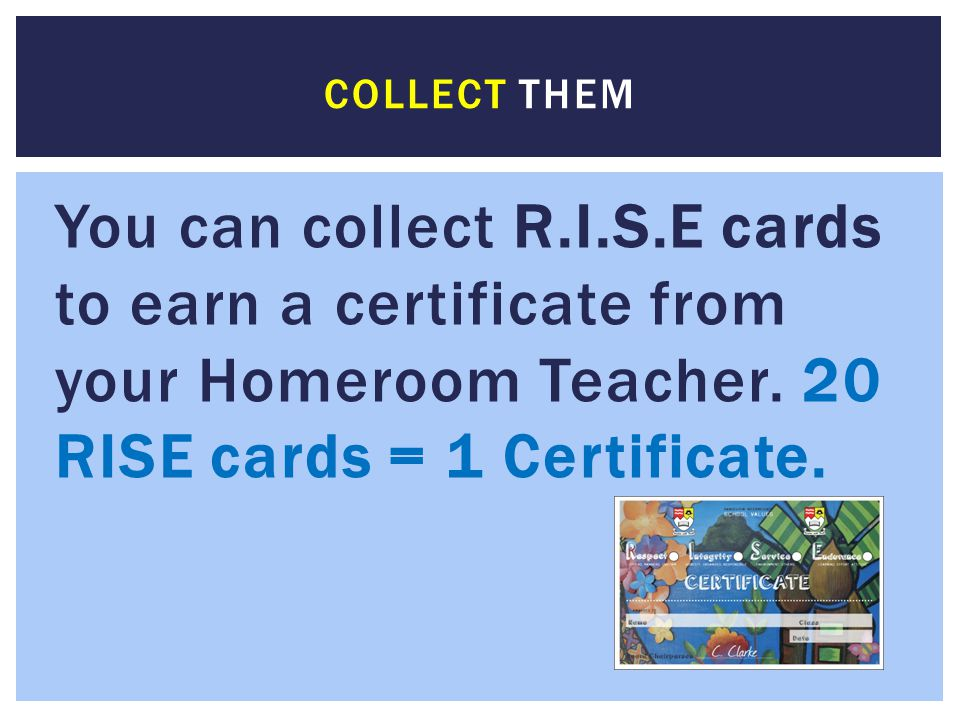 Collect them You can collect R.I.S.E cards to earn a certificate from your Homeroom Teacher.