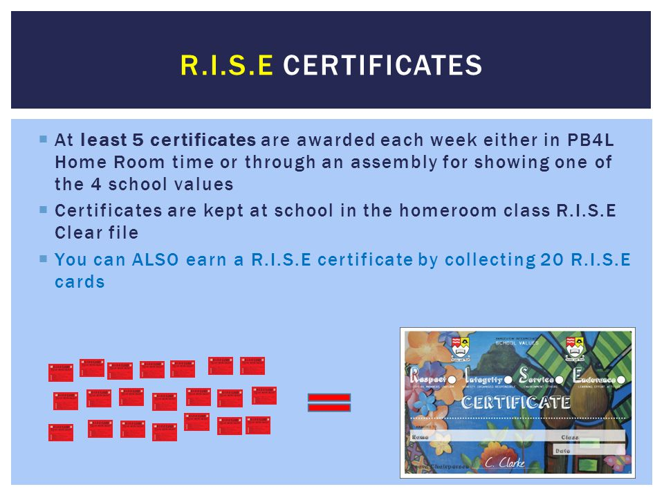 R.I.S.E Certificates