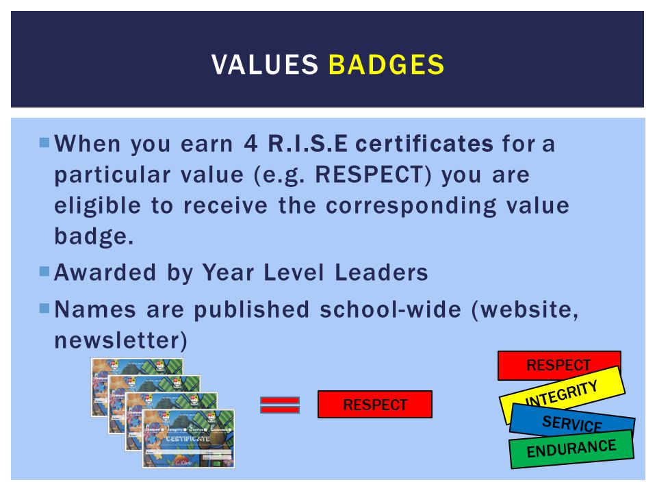 Values Badges When you earn 4 R.I.S.E certificates for a particular value (e.g. RESPECT) you are eligible to receive the corresponding value badge.