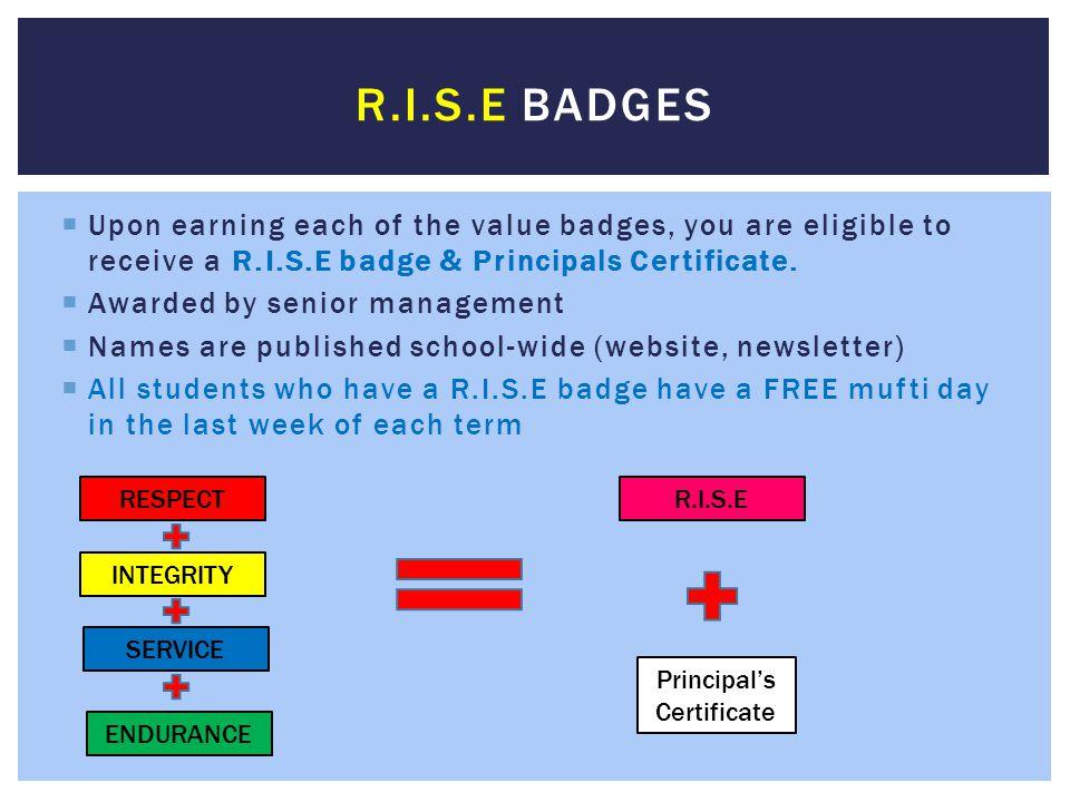 Principal's Certificate