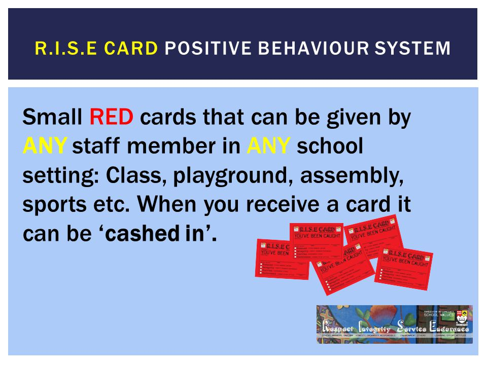 R.i.s.e card positive behaviour system