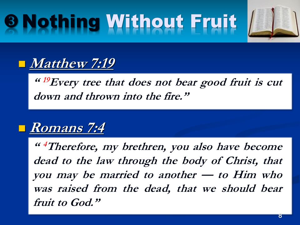 Nothing Without Fruit Matthew 7:19 Romans 7:4