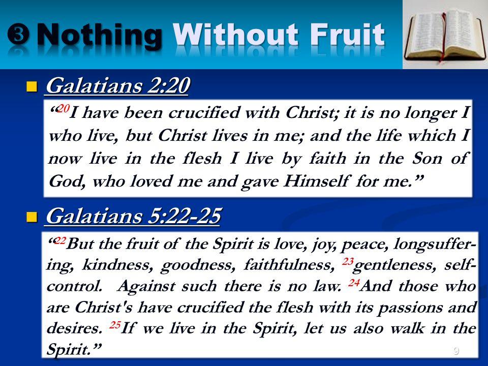 Nothing Without Fruit Galatians 2:20 Galatians 5:22-25
