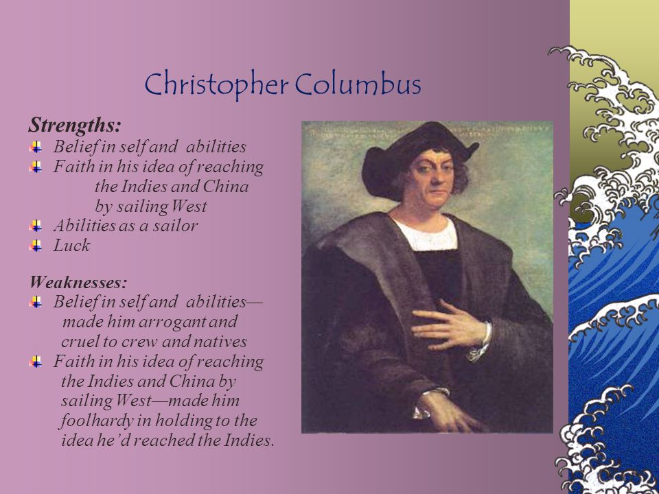 Christopher Columbus Strengths: Belief in self and abilities