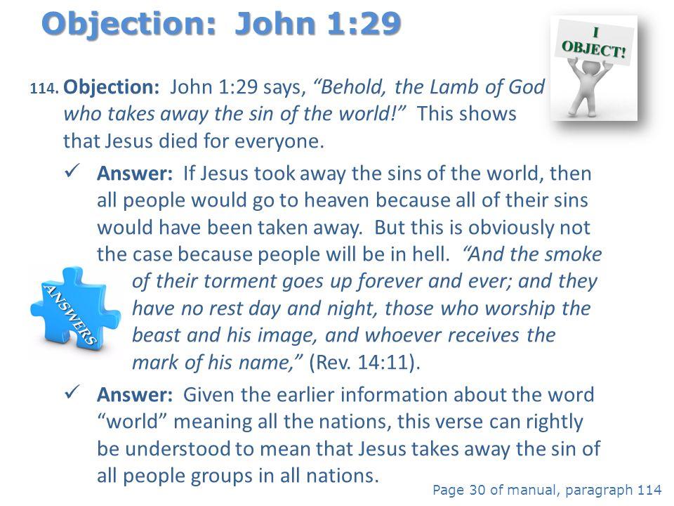 Objection: John 1:29