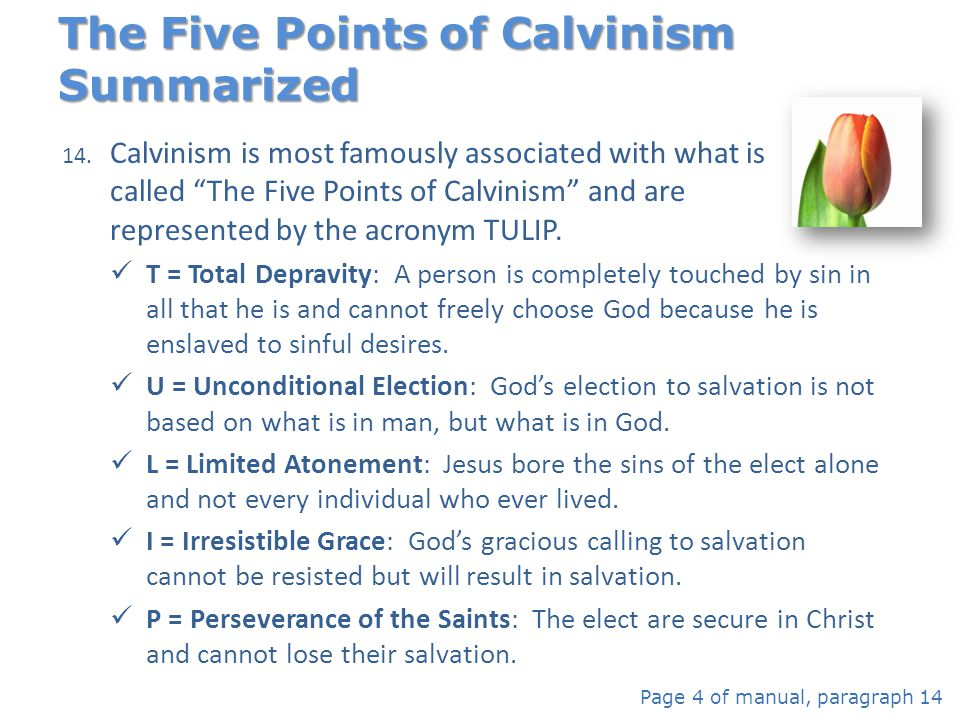 The Five Points of Calvinism Summarized