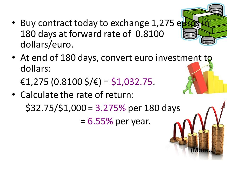 At end of 180 days, convert euro investment to dollars:
