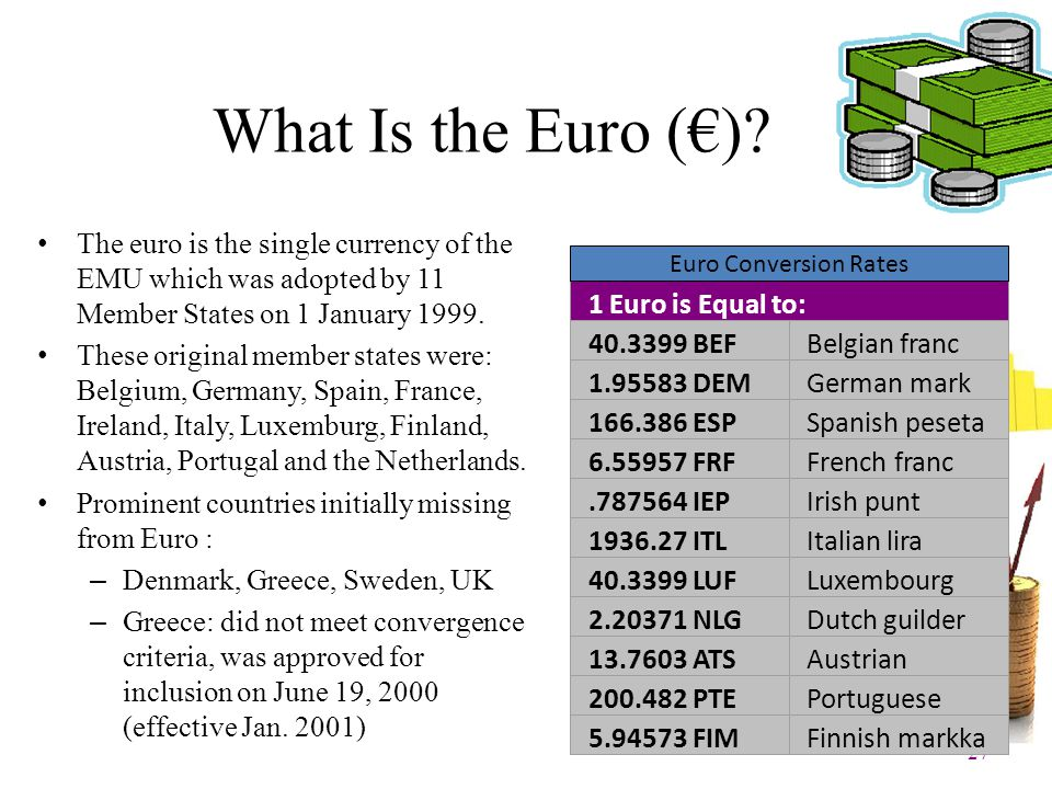 What Is the Euro (€) The euro is the single currency of the EMU which was adopted by 11 Member States on 1 January 1999.