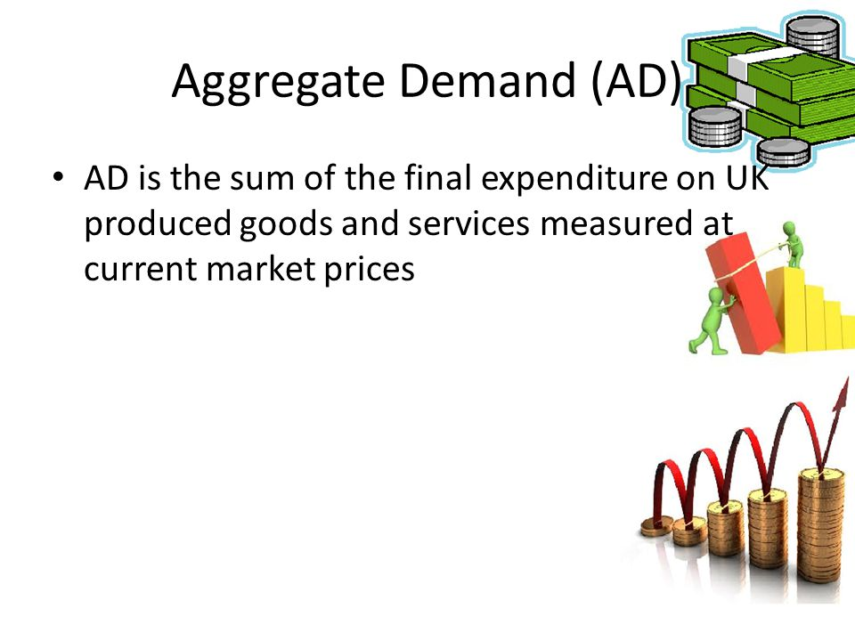 Aggregate Demand (AD) AD is the sum of the final expenditure on UK produced goods and services measured at current market prices.