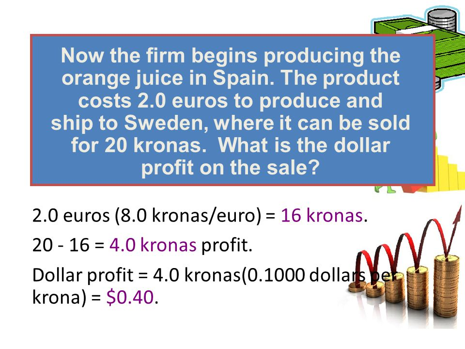 Now the firm begins producing the orange juice in Spain. The product