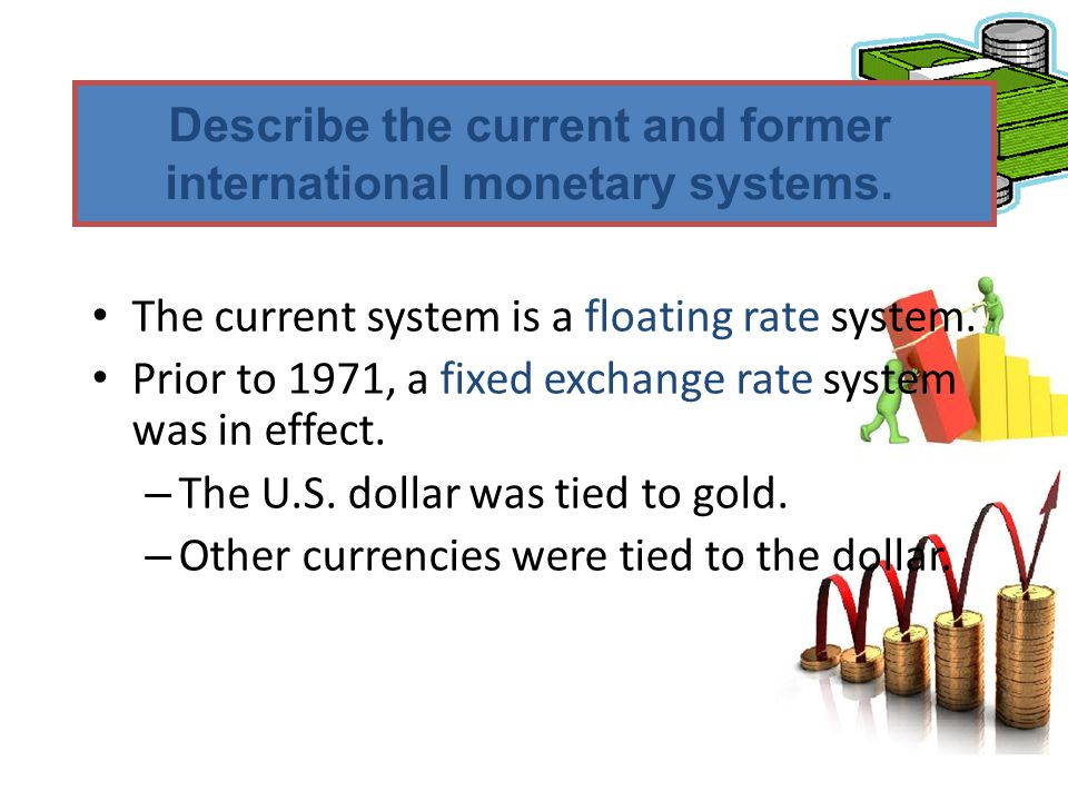 Describe the current and former international monetary systems.
