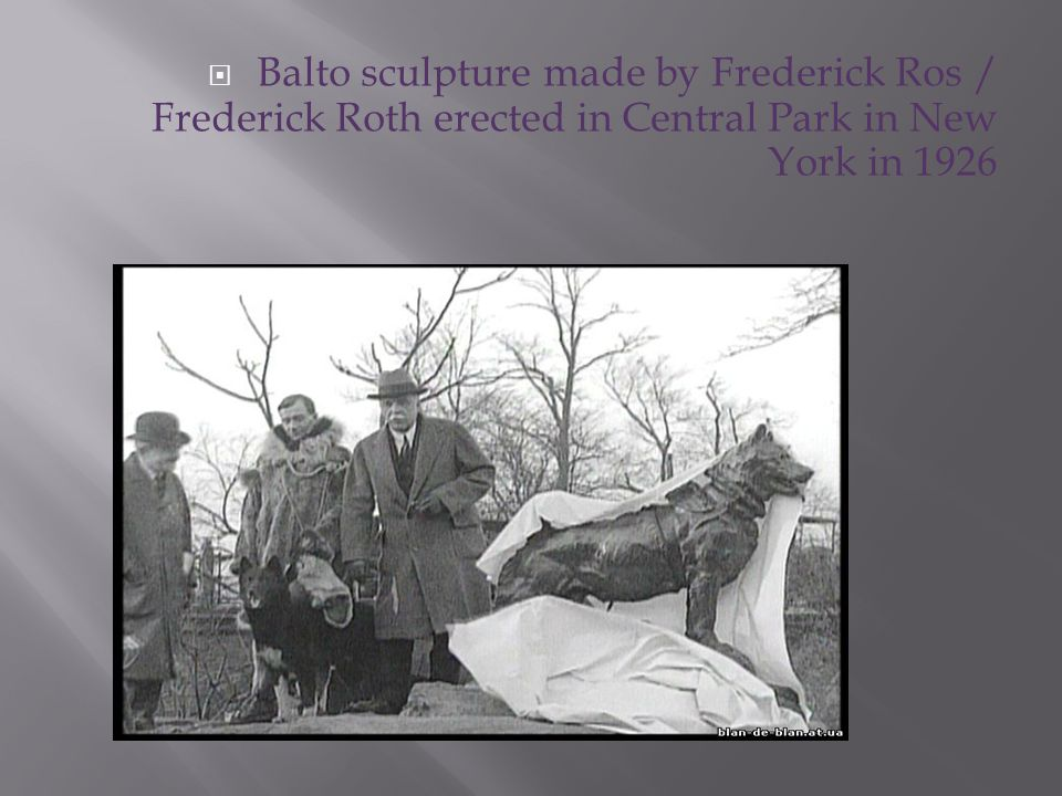 Balto sculpture made by Frederick Ros / Frederick Roth erected in Central Park in New York in 1926