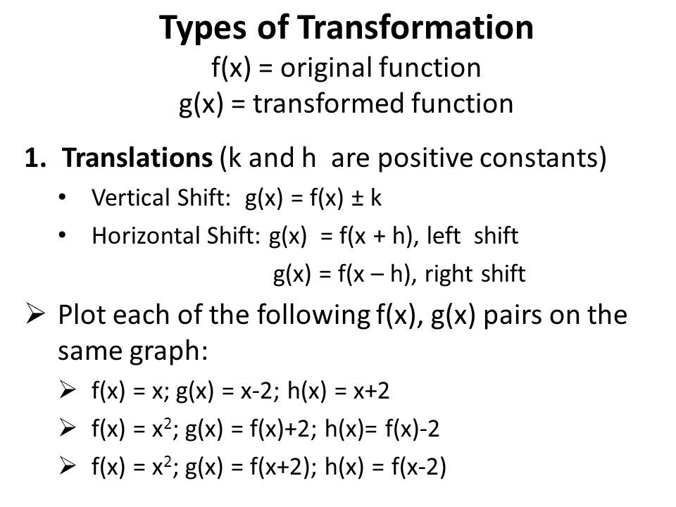 Types of Transformation f(x) = original function g(x) = transformed function