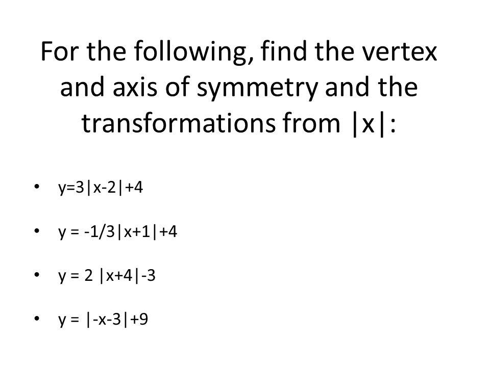 y=3|x-2|+4 y = -1/3|x+1|+4 y = 2 |x+4|-3 y = |-x-3|+9