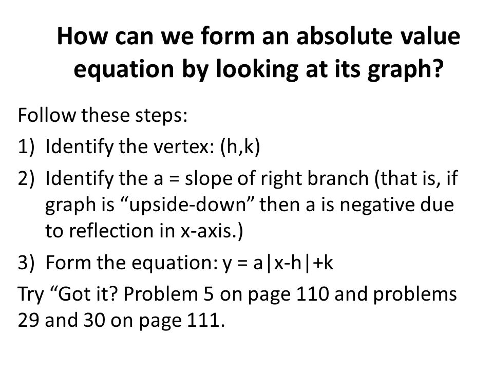 How can we form an absolute value equation by looking at its graph