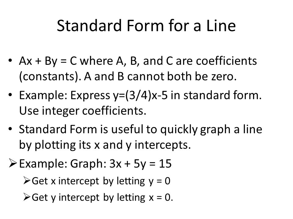 Standard Form for a Line