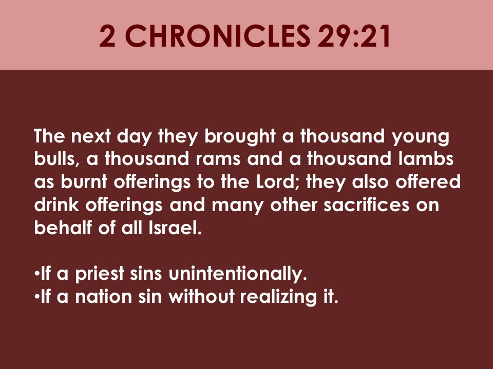 2 CHRONICLES 29:21
