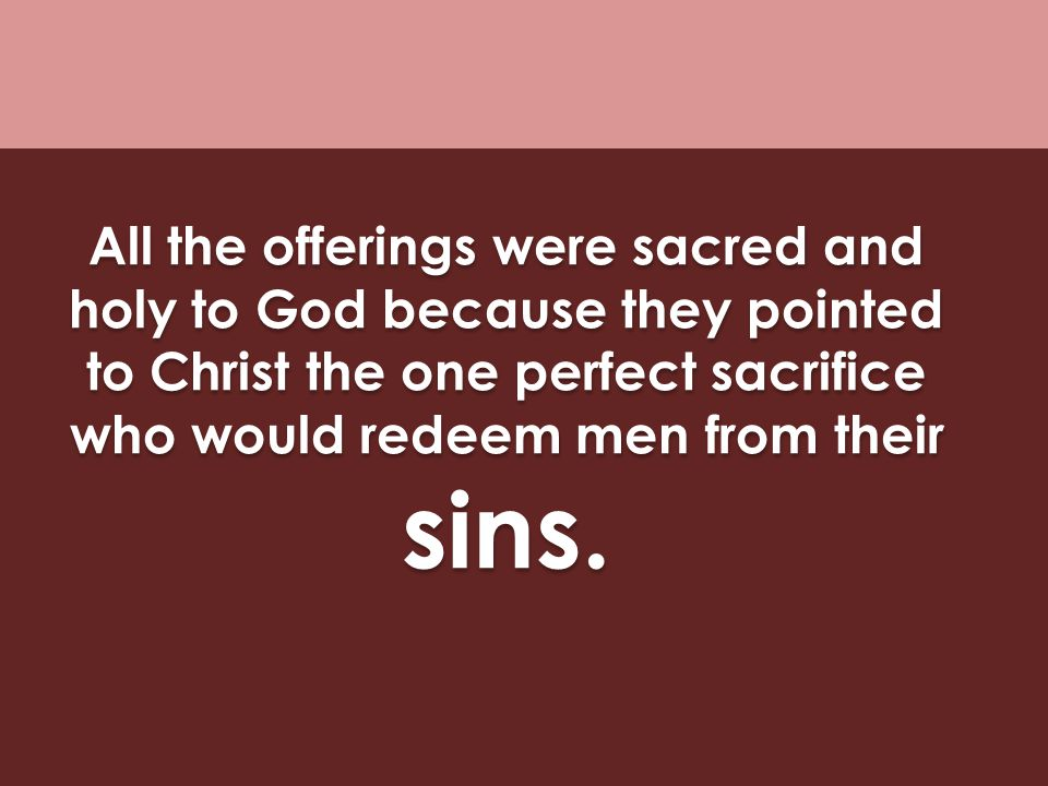 All the offerings were sacred and holy to God because they pointed to Christ the one perfect sacrifice who would redeem men from their sins.