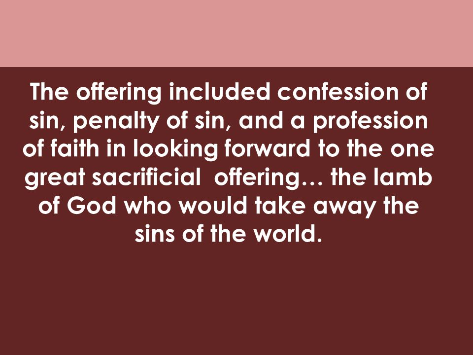 The offering included confession of sin, penalty of sin, and a profession of faith in looking forward to the one great sacrificial offering… the lamb of God who would take away the sins of the world.